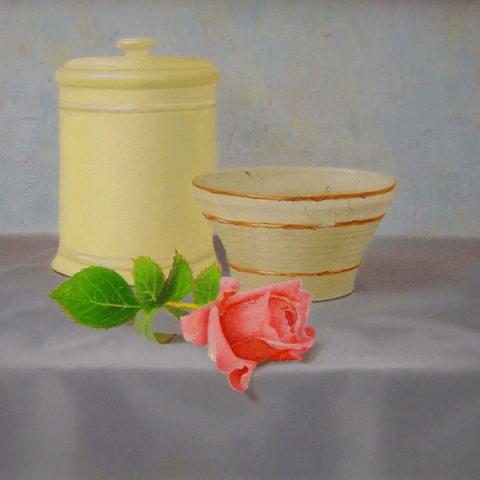 Aardewerk en een roosje