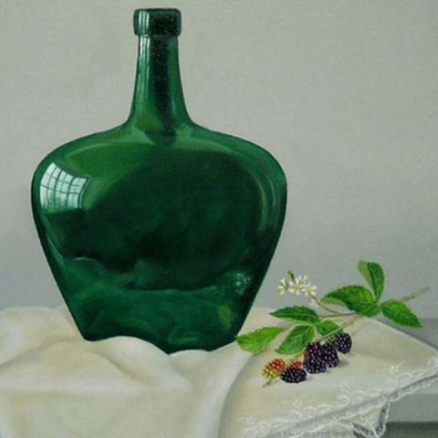Bramen en groene fles op doek