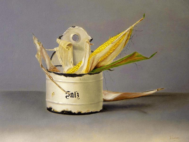 Emaile zoutpot met mais