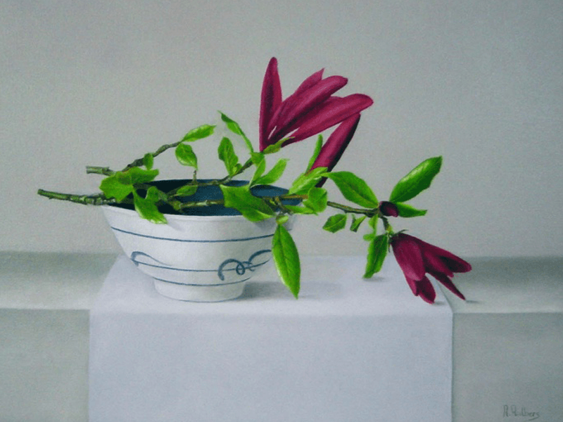 Magnolia op chinees kommetje