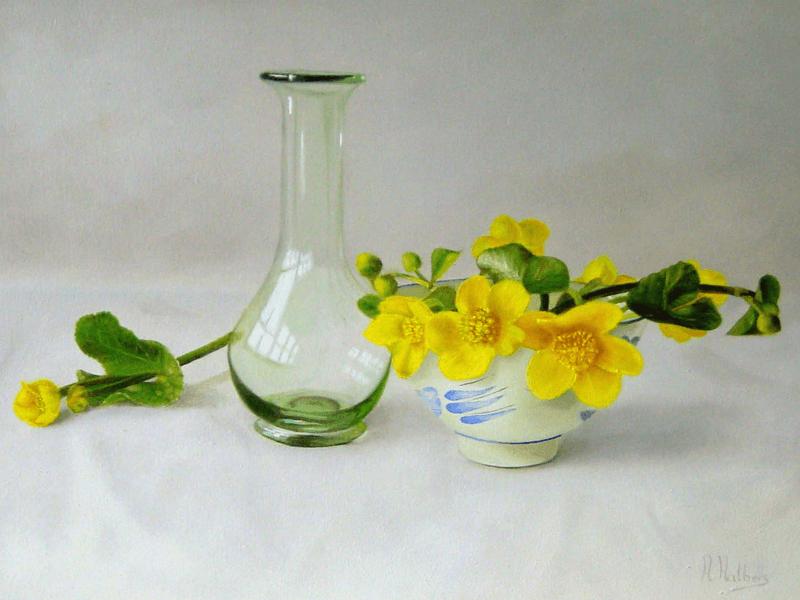 Replica romeins glas en dotterbloem